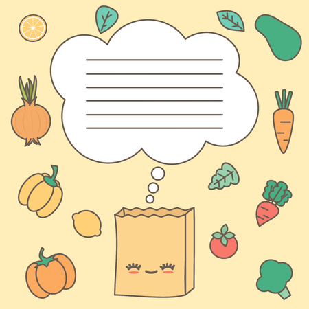 cute shopping list vector printable illustration with paper grocery bag and veggies Stock Illustratie