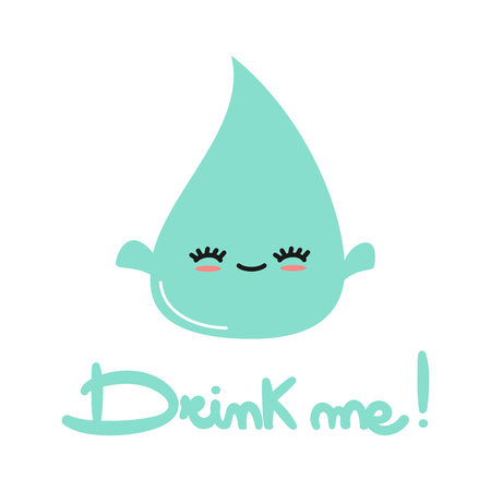 cute vector hand drawn lettering drink me text with cartoon lovely water drop