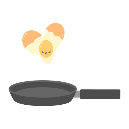 cute cartoon cracked egg and frying pan funny concept vector illustration