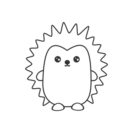 cute cartoon black and white hedgehog vector illustration for coloring art
