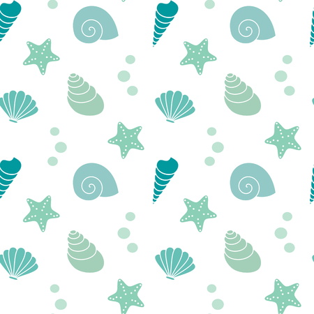cute exotic summer seamless vector pattern background illustration with seashells Stock Illustratie