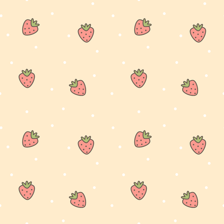 cute cartoon lovely seamless vector pattern background illustration with strawberries