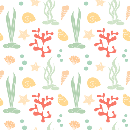 cute summer seamless vector pattern background illustration with seashells, corals and starfishes Stock Illustratie