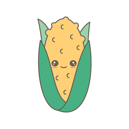 cute cartoon sweet corn character vector illustration isolated on white background