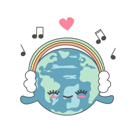 cute cartoon happy earth with rainbow headphones funny vector illustration