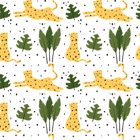cute trendy abstract seamless vector pattern background illustration with leopards and tropical leaves