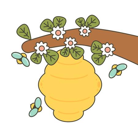 cute cartoon bees and beehive vector illustration Stock Illustratie
