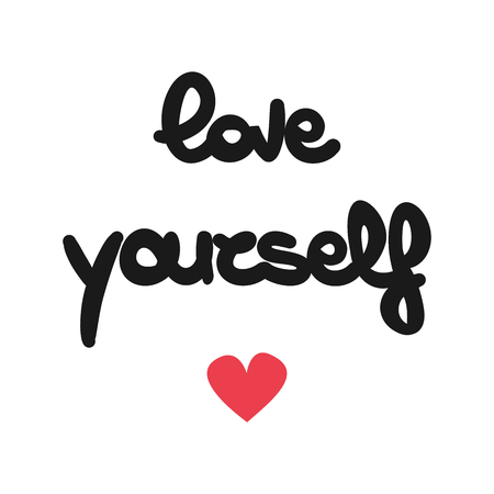 cute hand drawn lettering love yourself vector card