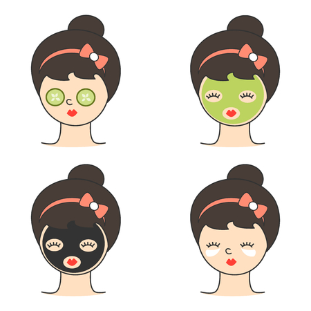cute girl with different facial masks for skin care and treatment vector concept illustration