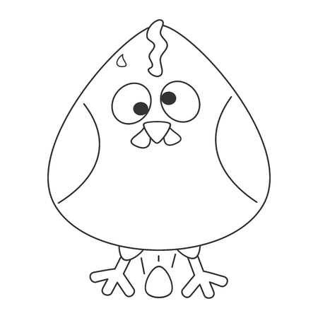 cute cartoon hen with egg vector funny black and white illustration for coloring art Vector Illustration