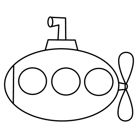 cute cartoon black and white submarine vector illustration for coloring art