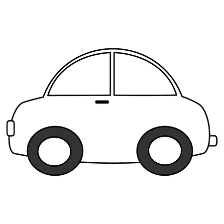 black and white cartoon car vector illustration for coloring art