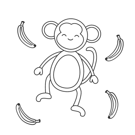 cute cartoon black and white monkey with banana vector illustration for coloring art