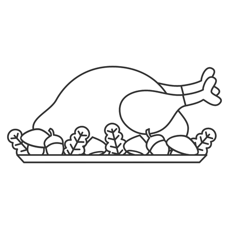 cute cartoon black and white thanksgiving day roasted turkey vector illustration for coloring art