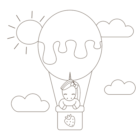 cute cartoon black and white unicorn flying with air balloon in the sky vector flat illustration for coloring art