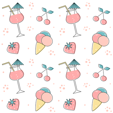 cute summer seamless vector pattern background illustration with cocktail drinks, strawberries, cherries and ice cream