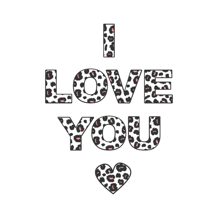 cute i love you with leopard print inscription letters vector illustration Vector Illustration