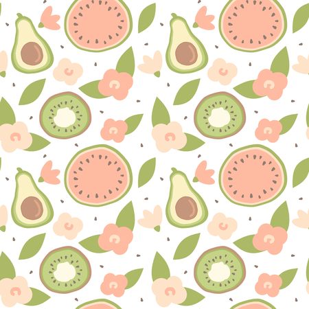 cute lovely cartoon summer seamless vector pattern background illustration with hand drawn avocado, watermelon, kiwi and flowers