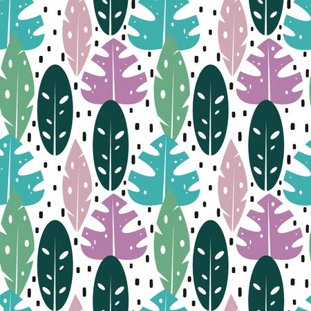 cute exotic seamless vector pattern background illustration with tropical leaves Иллюстрация