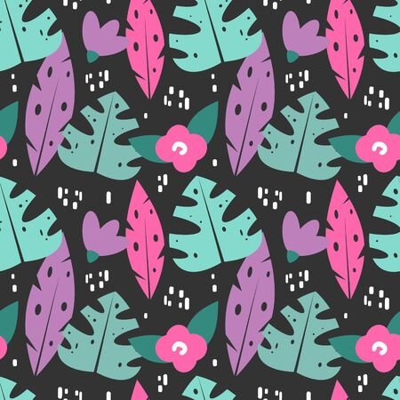 cute exotic seamless vector pattern background illustration with tropical leaves and flowers