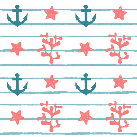 cute seamless vector pattern illustration with coral, starfish and white striped background
