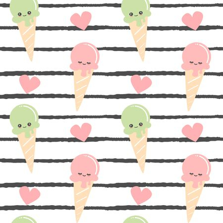cute cartoon ice cream seamless pattern vector illustration on black and white striped background