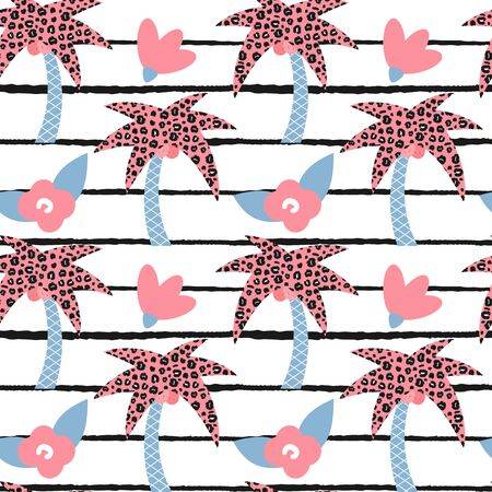 cute modern summer seamless vector pattern illustration with hand drawn palm trees and black and white striped background