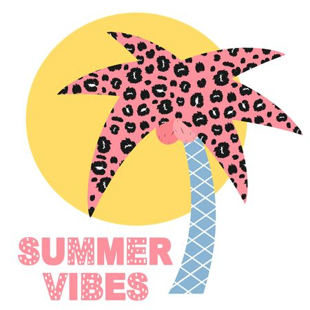 cute summer vector card with palm tree and sun