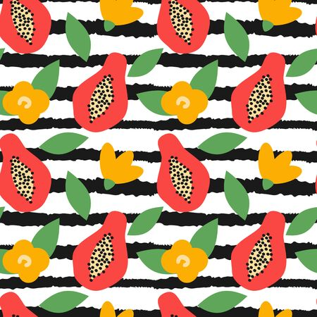 cute seamless modern vector pattern illustration with hand drawn papaya and black and white striped background