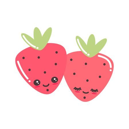 cute cartoon strawberries character vector illustration isolated on white background