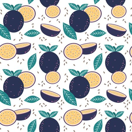 seamless vector pattern background illustration with passion fruit