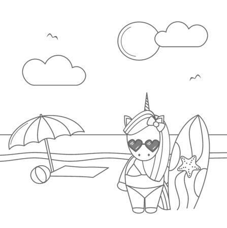 cute cool unicorn cartoon surfer on the beach funny black cartoon surfer on the beach vector illustration for coloring art Иллюстрация