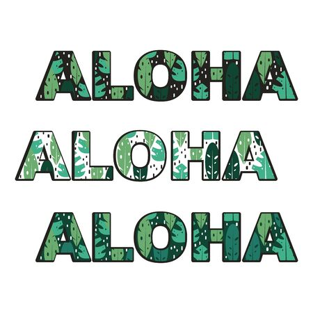 aloha text vector set with tropical exotic leaves Иллюстрация