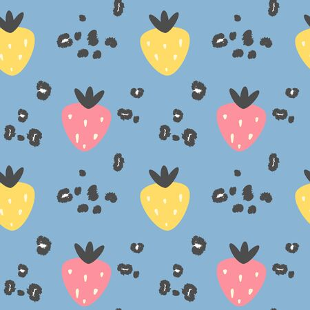 abstract modern seamless vector pattern background illustration with strawberries and animal print with leopard dots