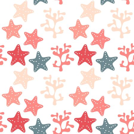 cute summer seamless vector pattern background illustration with coral and starfish Иллюстрация