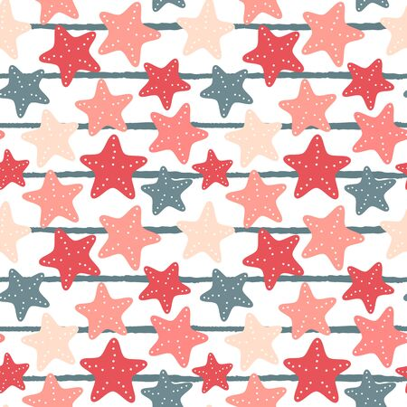 cute seamless vector pattern illustration with starfish on blue and white striped background