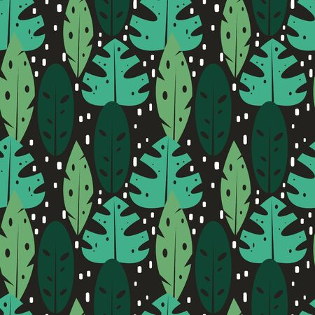cute exotic seamless vector pattern illustration with tropical leaves on dark background