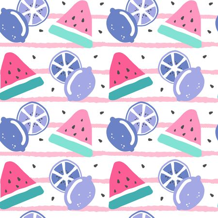cute colorful hand drawn seamless vector pattern illustration with watermelon slice, seed and lemons on striped background