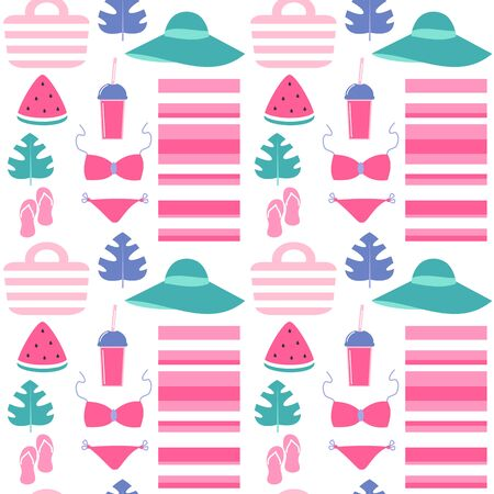 cute colorful seamless vector pattern background illustration with beach clothes and summer elements Иллюстрация