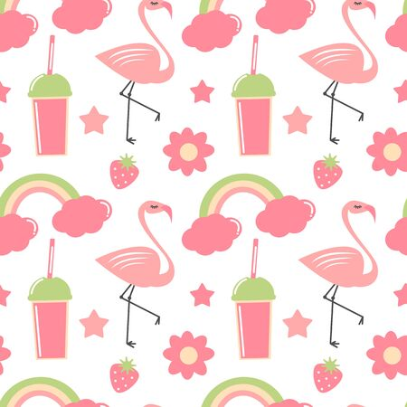 cute hand drawn summer seamless vector pattern background illustration with flamingo, rainbow, flowers, stars, strawberries and smoothies