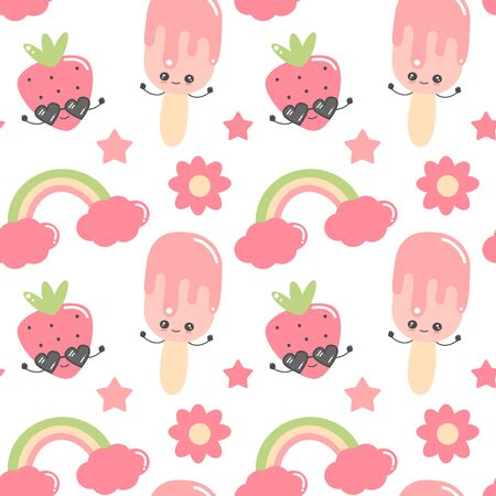 cute colorful cartoon hand drawn seamless pattern vector illustration background with ice cream, strawberry, flowers, rainbow and stars Иллюстрация