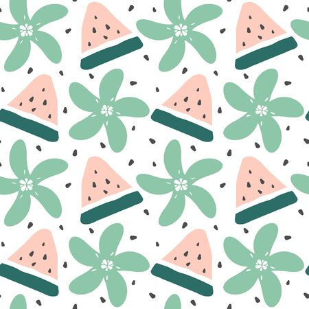 cute modern summer seamless vector pattern background illustration with watermelon slice, seeds and flowers