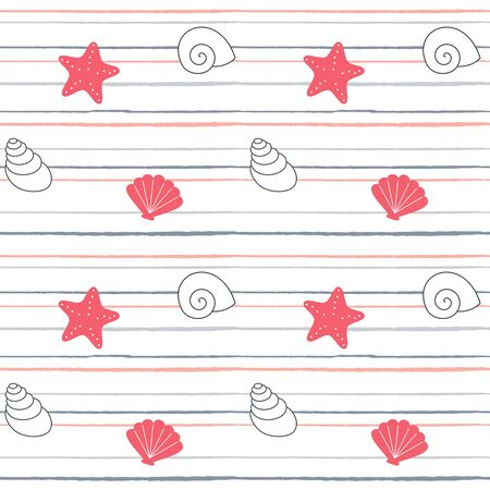 cute lovely cartoon summer marine striped seamless vector pattern background illustration with seashells and starfishes
