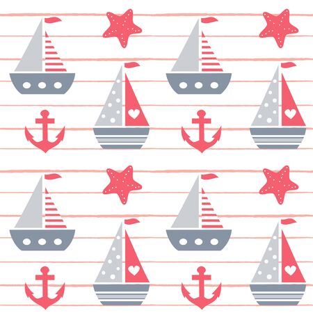 cute lovely cartoon summer marine striped seamless vector pattern background illustration with boats, anchors and starfishes