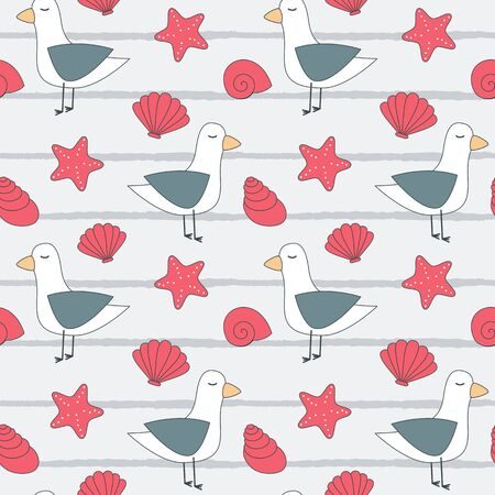 cute summer seamless vector pattern background illustration with seagulls, seashells and starfishes