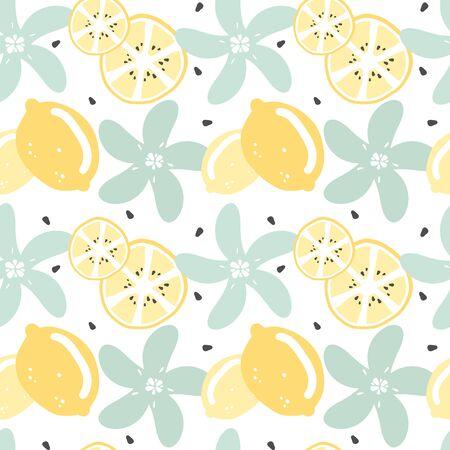 cute modern summer seamless vector pattern background illustration with lemon, lemon slice, seeds and flowers Иллюстрация