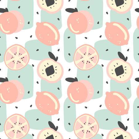 cute modern summer seamless vector pattern background illustration with lemon, lemon slice, abstract elements, seeds and peach