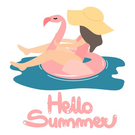 cute hand drawn lettering hello summer vector card with girl swimming cartoon pink flamingo float