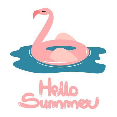 cute hand drawn lettering hello vector card with cartoon pink flamingo float Иллюстрация