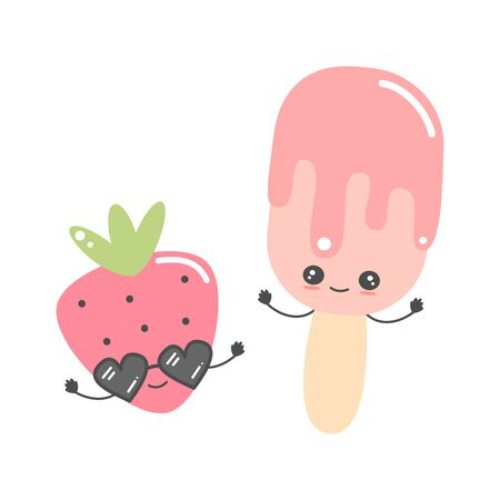 cute cartoon strawberry with sunglasses and ice cream character vector illustration isolated on white background Иллюстрация
